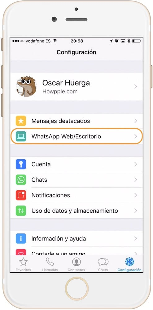 Entrar en ajustes de WhatsApp Web en iPhone