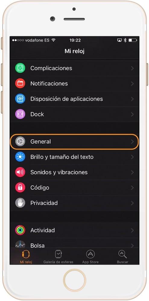 Ajustes generales para cambiar el idioma en el Apple Watch