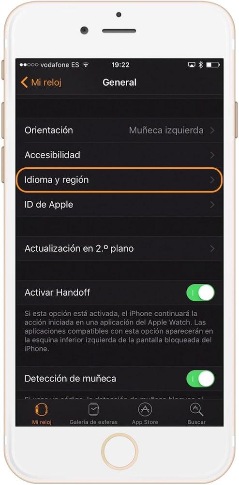 sección idioma y región como cambiar el idioma en el Apple Watch