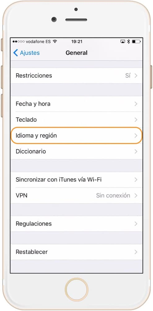 Sección idioma y región de los ajustes como cambiar el idioma del iPad