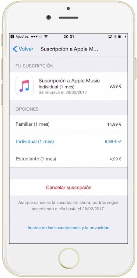Punto final como cancelar una suscripción a Apple Music