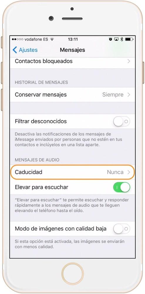 Caducidad de los mensajes de voz en iOS para iPhone y iPad