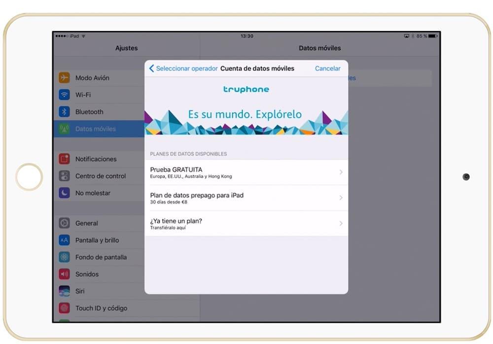 Imagen de Truphone en el iPad con Apple SIM