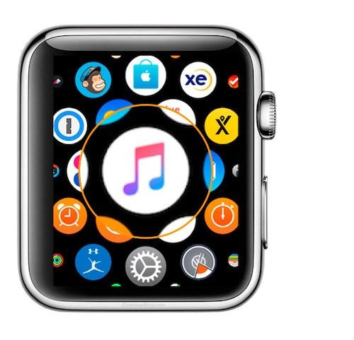 Seleccionar aplicación música en el Apple Watch para escucharlo en auriculares inalámbricos