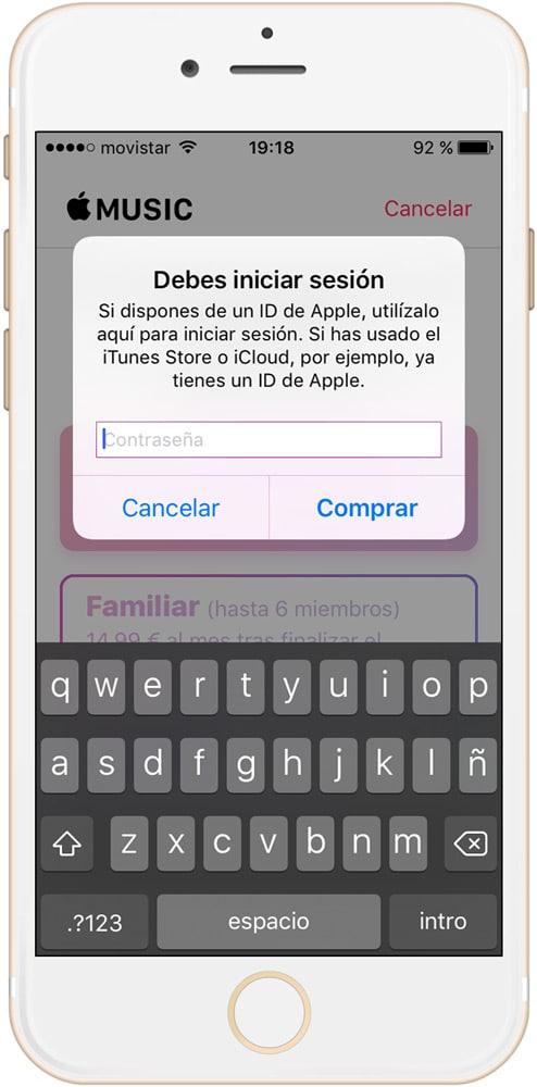 Usa tu ID de Apple para confirmar la suscripción a Apple Music