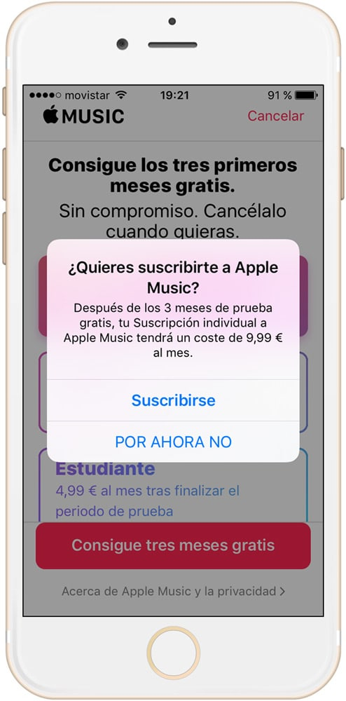 Confirmación para suscribirse a Apple Music