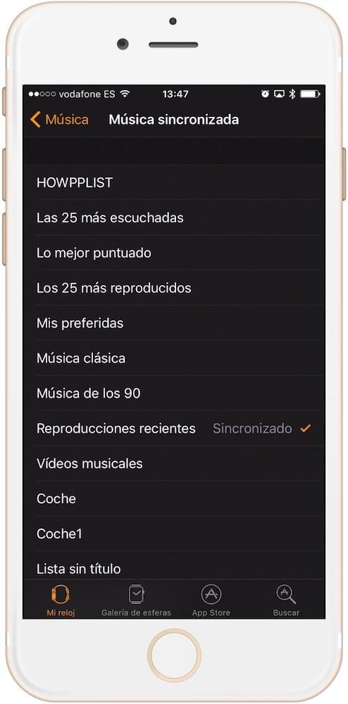 Aprende como conectar unos auriculares inalámbricos con el Apple Watch selección de lista de música en iPhone