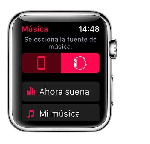 Seleccionar la fuente de música desde el Apple Watch