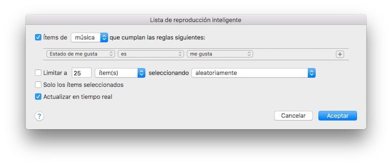 Como crear una lista inteligente para Apple Music desde iTunes