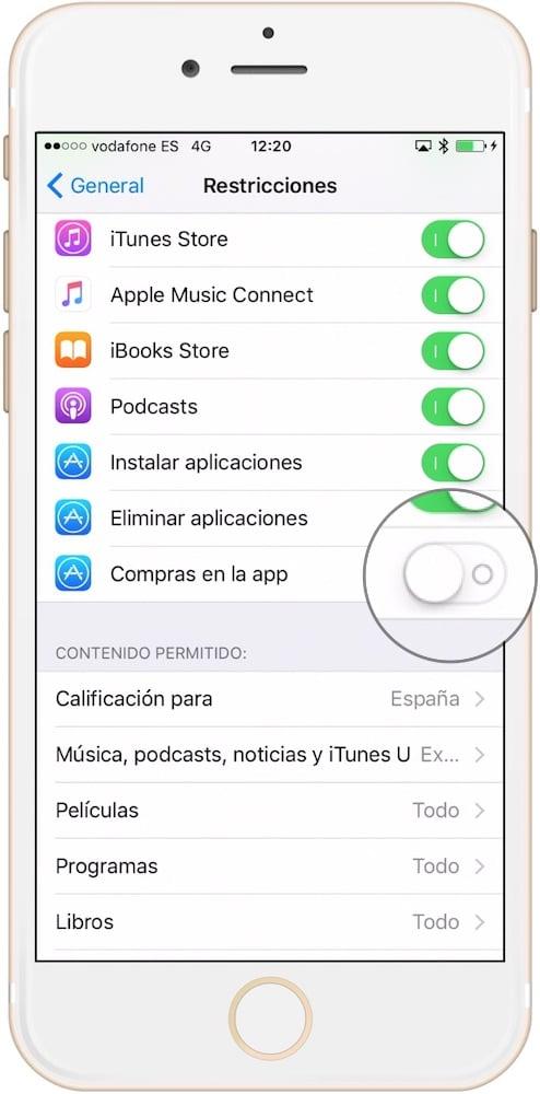 restringe las compras dentro de las aplicaciones desactivando esta opción