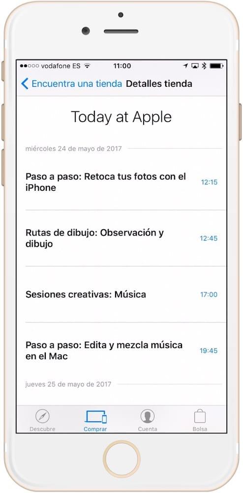 Aprende como apuntarse a los cursos de Today at Apple desde iPhone o iPad