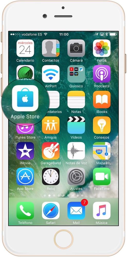 Seleccionar la aplicación Apple Store en iOS para apuntarse a los cursos Today at Apple