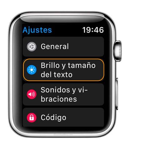Como cambiar el tamal de la letra en Apple Watch desde la sección ajustes de WatchOS
