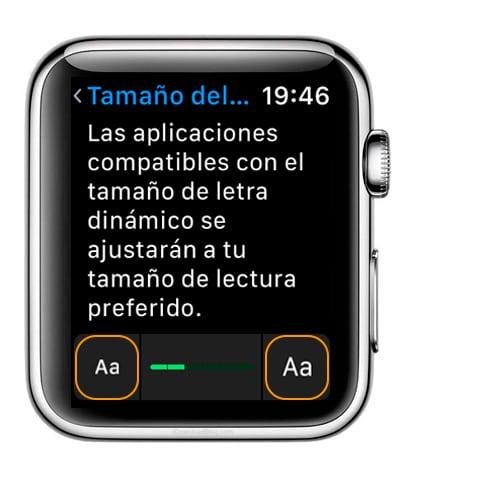 ¿Se puede aumentar el tamaño de la letra en Apple Watch?