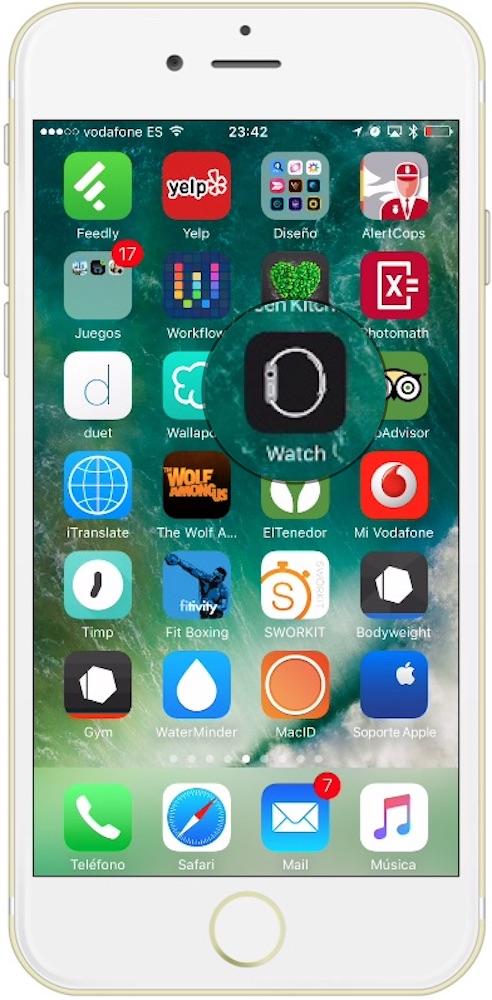 Aplicación Reloj del iPhone para aumentar el tamaño de la letra del Apple Watch