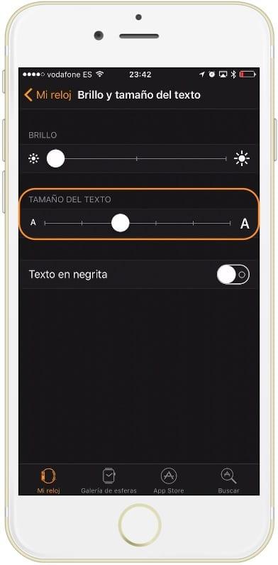 Selector para aumentar el tamaño de la letra en el Apple Watch desde el iPhone
