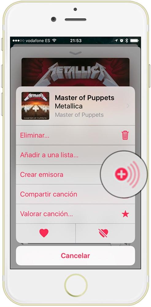 aprende donde encontrar el botón crear emisora de Apple Music