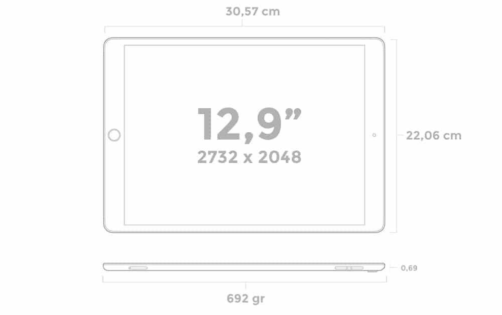 Nuevas dimensiones del iPad Pro 2017 de 12,9 pulgadas