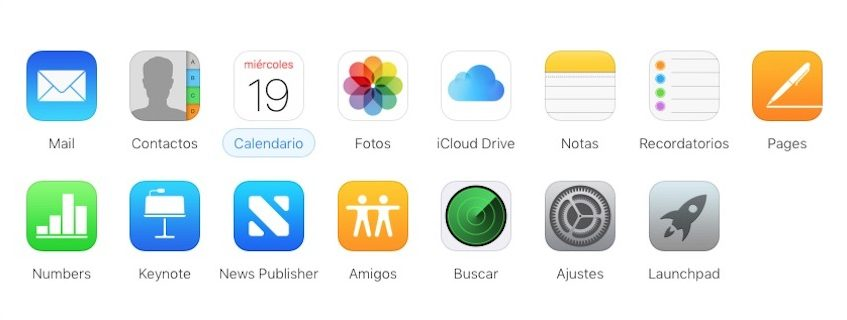 menu navegación de iCloud.com