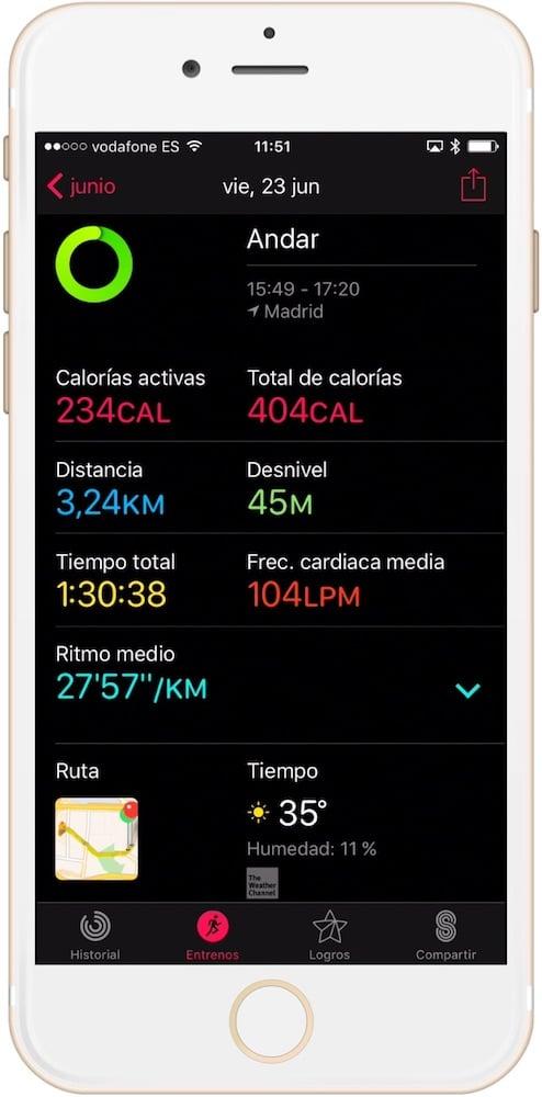 como ver el mapa del entrenamiento con apple watch información del entreno