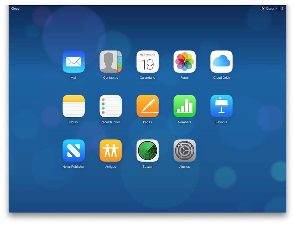 Aplicaciones accesibles desde iCloud.com