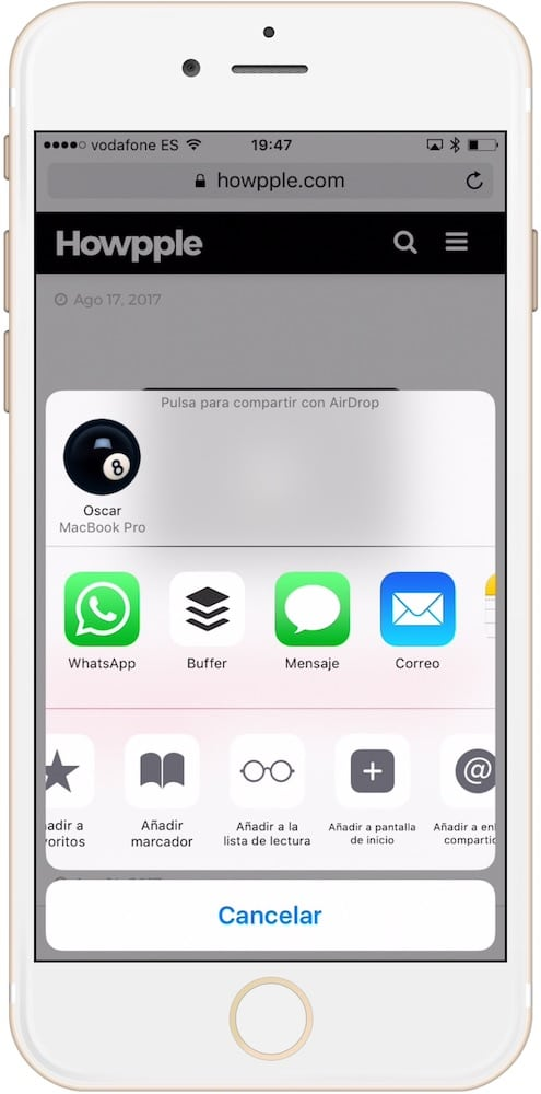 Cómo añadir webs a la lista de lectura en iPhone