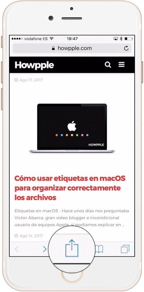Cómo añadir webs a la lista de lectura en iPhone en el menú compartir