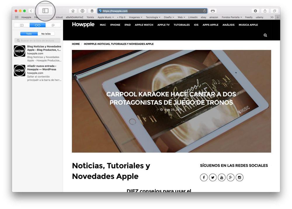 Pulsar sobre el menu de Safari para acceder a la lista de lectura