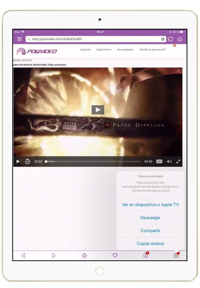 Descargar peliculas en iPad o iPhone