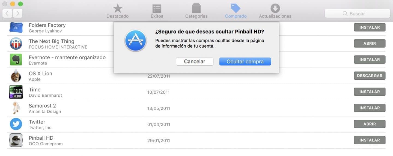 Como ocultar las compras del Mac App Store ocultar