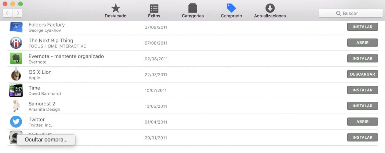 Como ocultar los juegos comprados del Mac App Store Control click