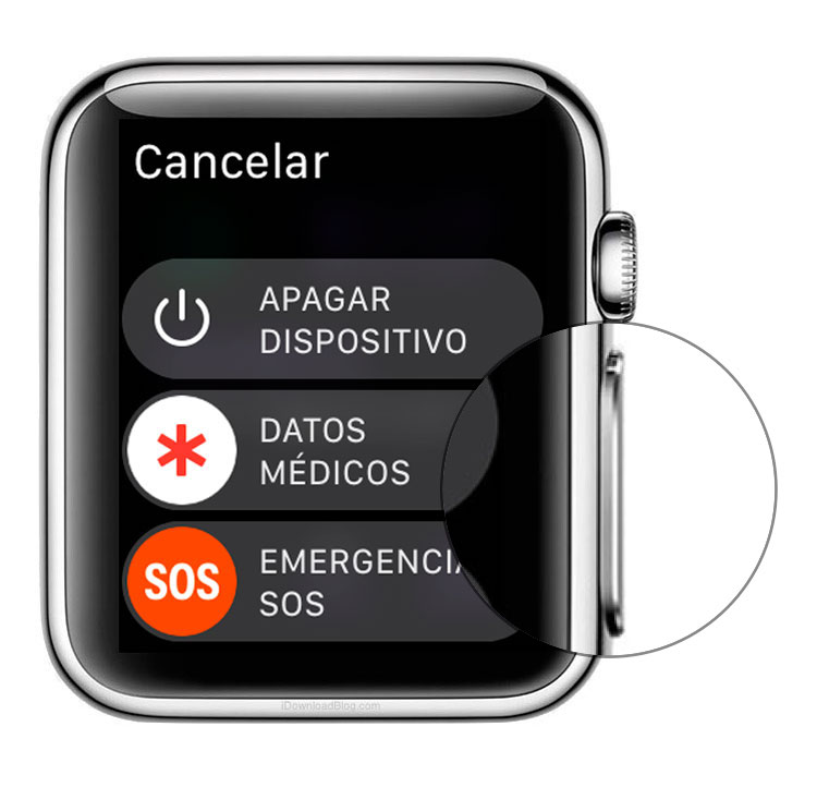 Botón para restaurar Apple Watch