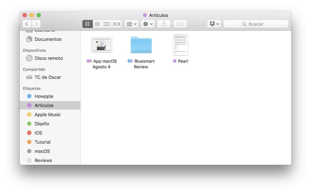 resultados de las etiquetas en macOS