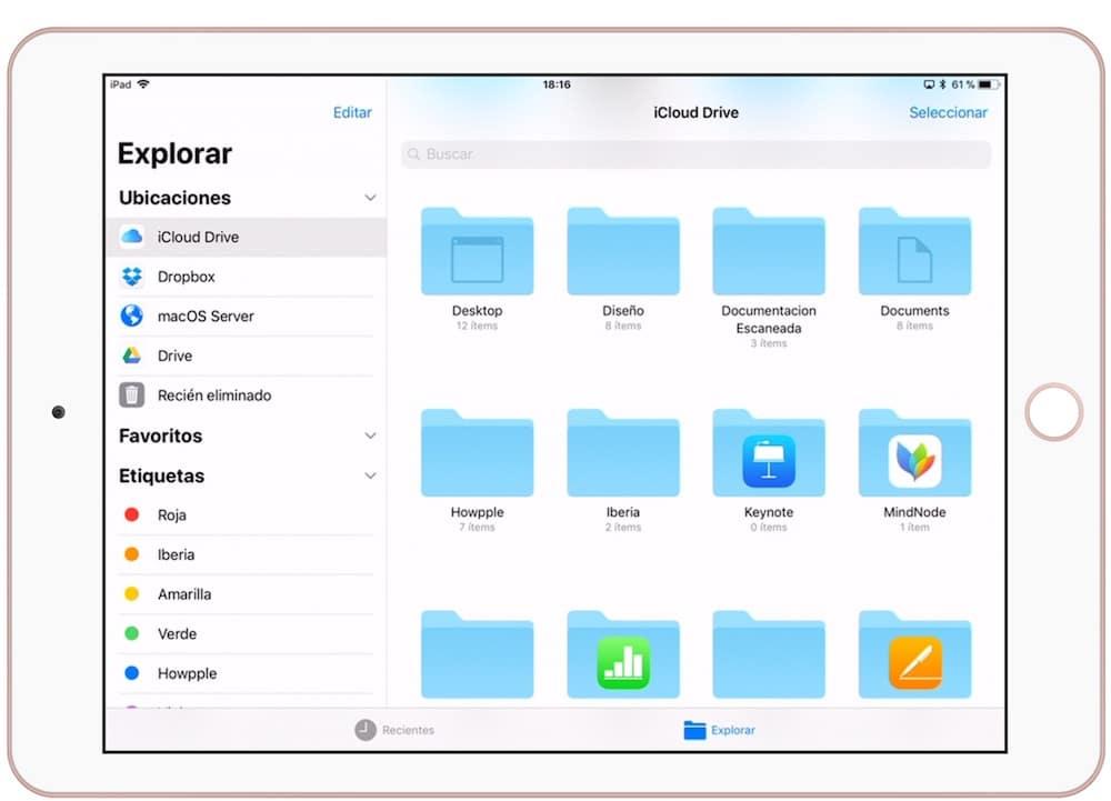 iCloud Drive en el iPad Pro en la escuela