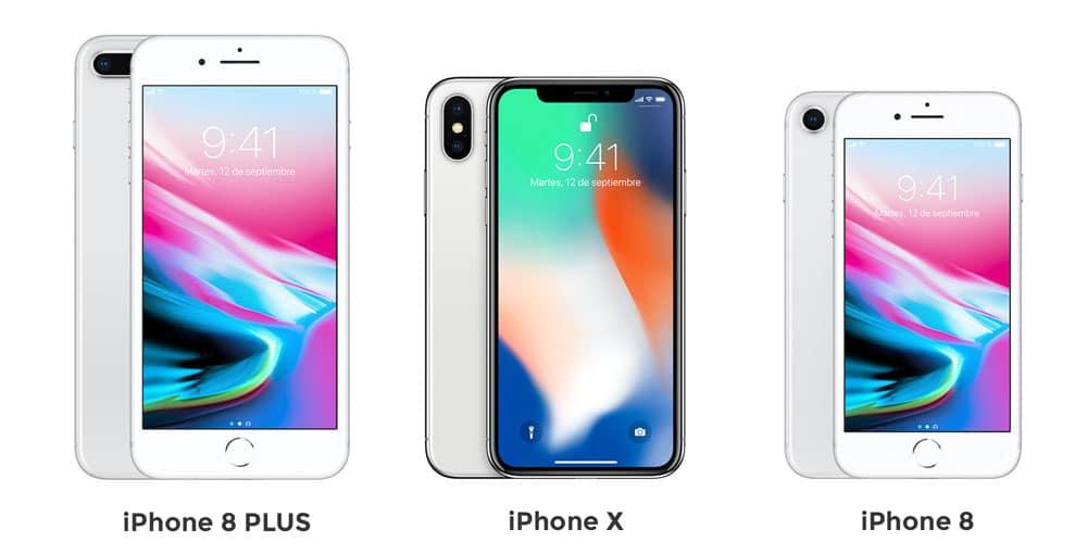 Tamaños de los nuevos iPhone X y 8