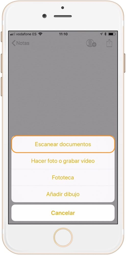 menu emergente para escanear documentos