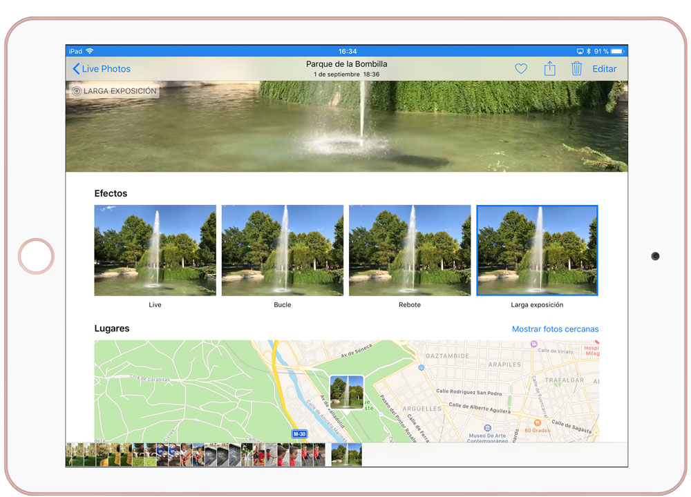 Seleccionar nuevos efectos der Live Photos en iOS 11