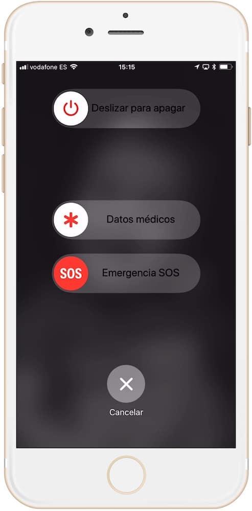 Pantalla de activación de la llamada de emergencia en iPhone