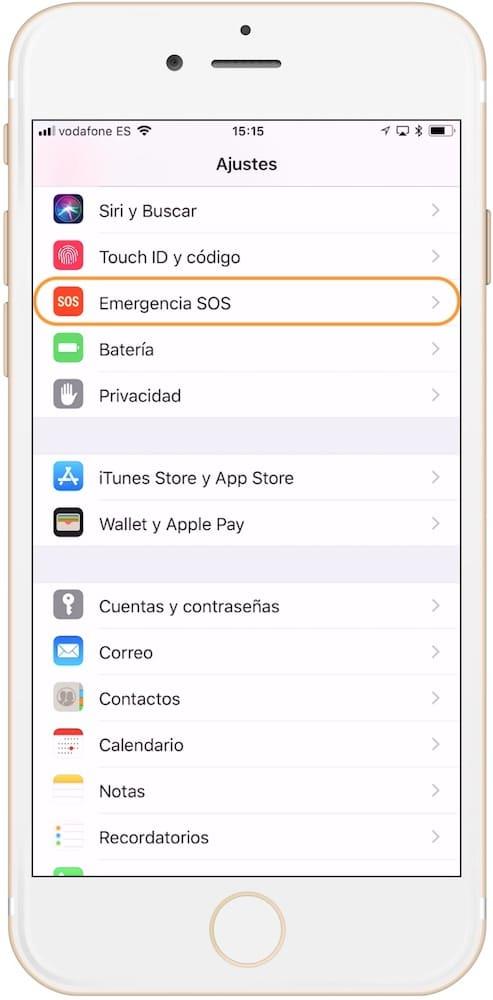 Sección para activa la llamada de emergencia en iPhone