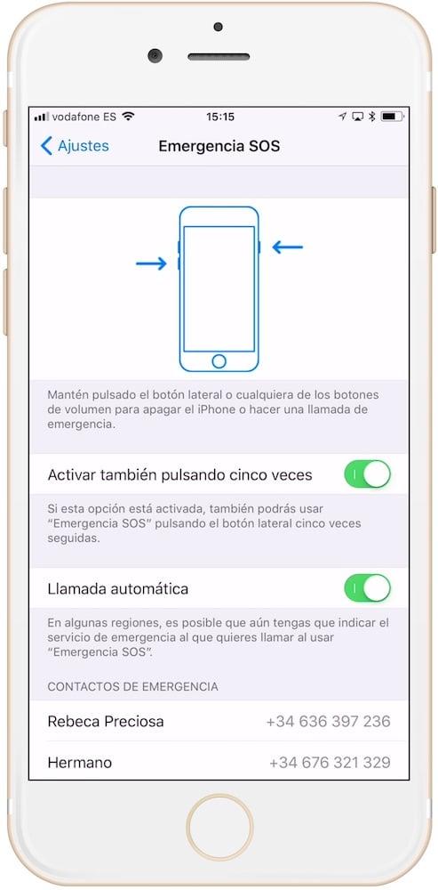 opciones para usar la llamada de emergencia en iPhone