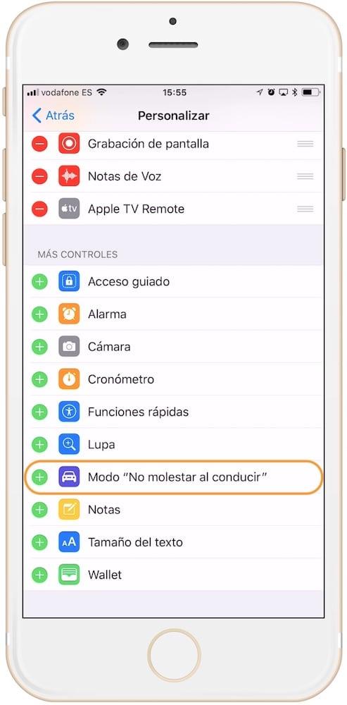 poner el modo no molestar mientras conduces de iOS 11 en el centro de control