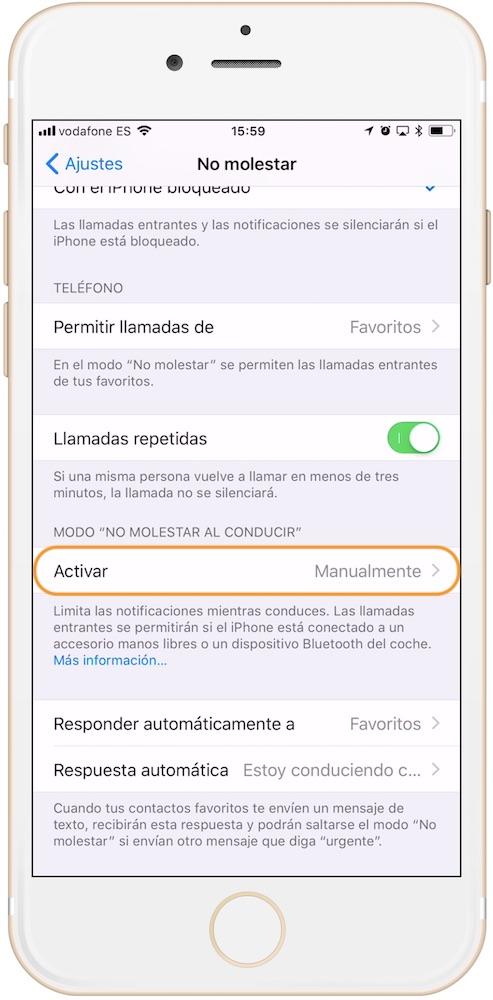 Como activar el modo no molestar mientras conduces en iOS 11