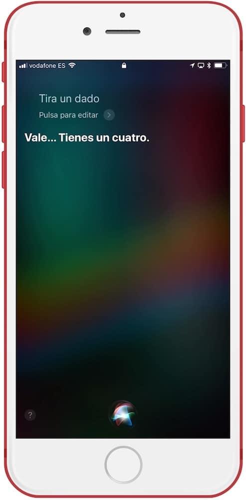 Siri juegos de mesa tirar un dado