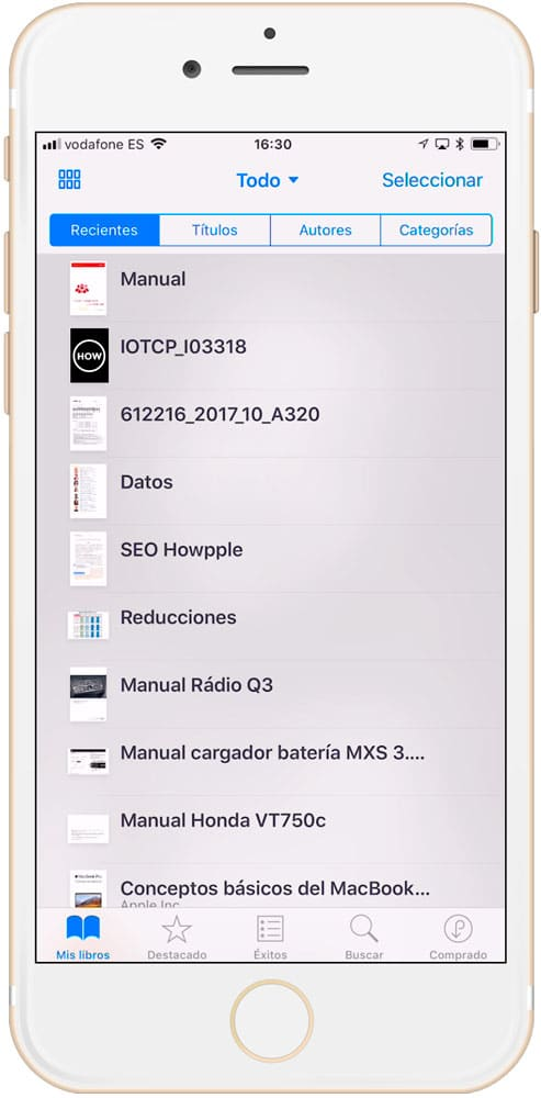 Poner el modo lista para cambiar el nombre re de un archivo en iBooks