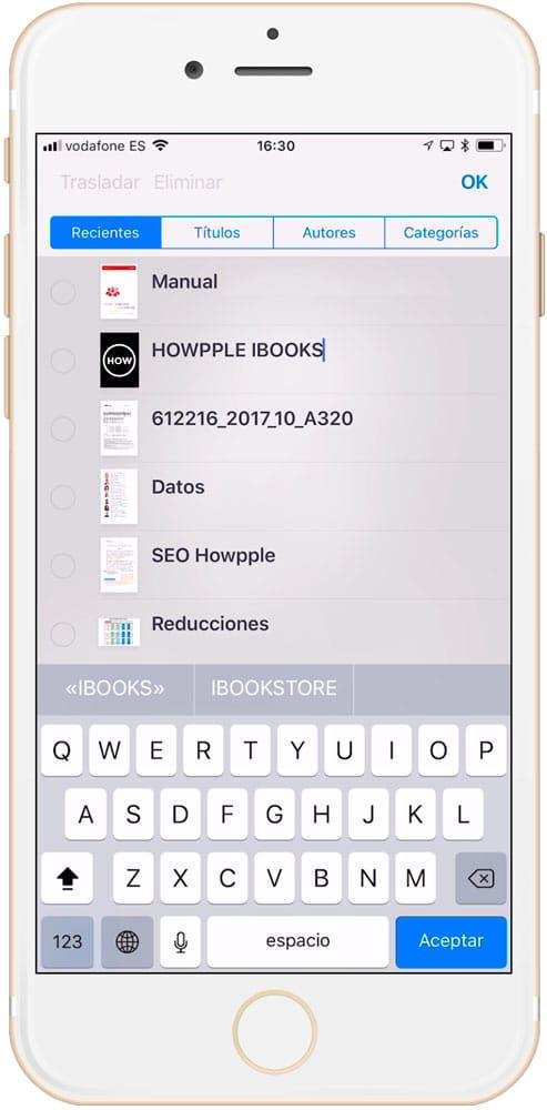 Cómo cambiar el nombre re de un archivo en iBooks resultado final