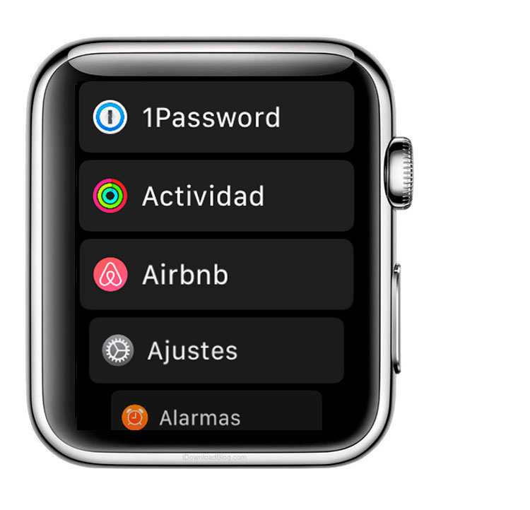 Aplicaciones del Apple Watch en modo lista