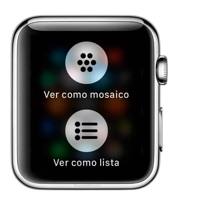 Menú emergente para ver aplicaciones del Apple Watch en modo lista