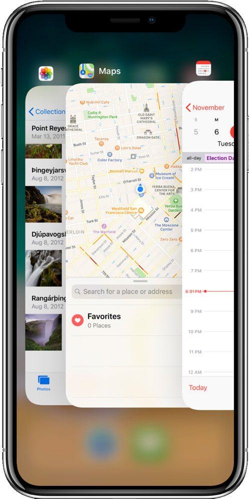 Multitasking para cerrar una aplicación en iPhone X