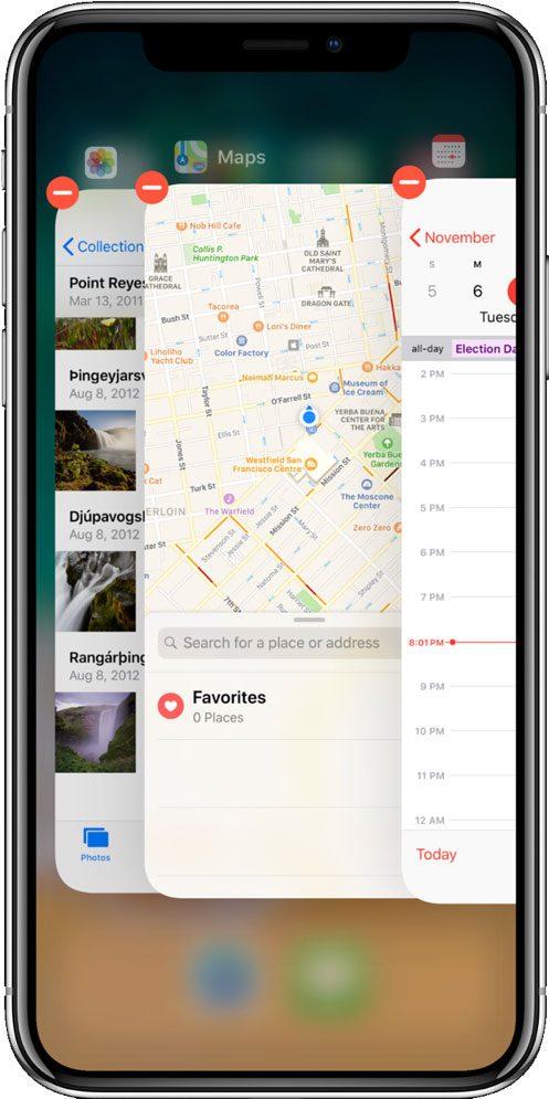 Icono para cerrar aplicaciones en iPhone X