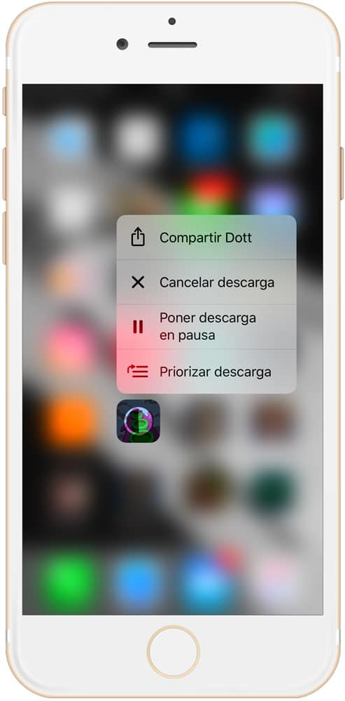 Menu emergente a la hora de priorizar descargas en iPhone